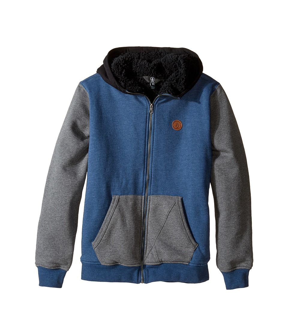 Volcom Kids - Single Stone Color Block Lined Zip Hoodie (Big Kids) (Blue Smoke) Boy's Sweatshirt