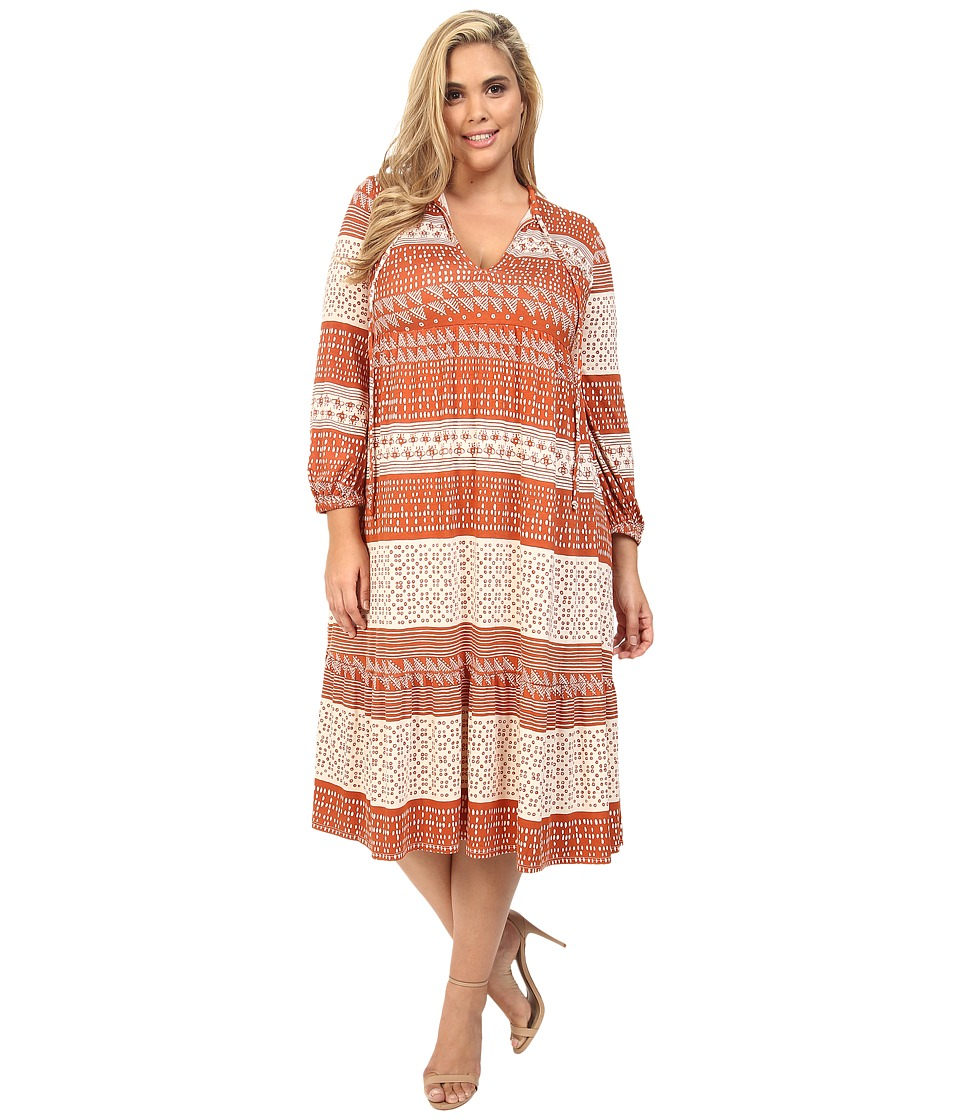 Rachel Pally Plus - Plus Size Kaemon Dress White Label Print (Copper Block Print) Women's Dress