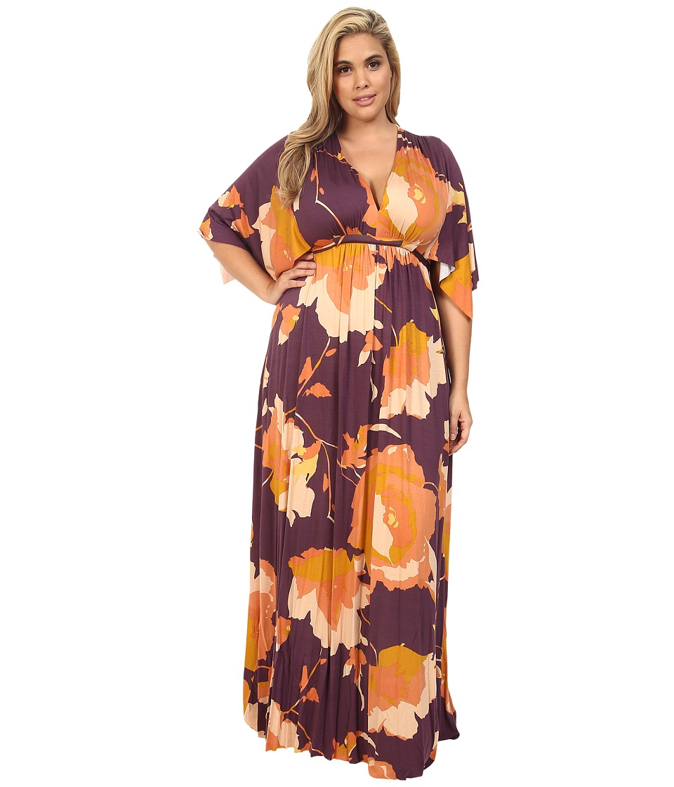 Rachel Pally Plus - Plus Size Long Caftan Dress White Label Print (Desert Flower) Women's Dress