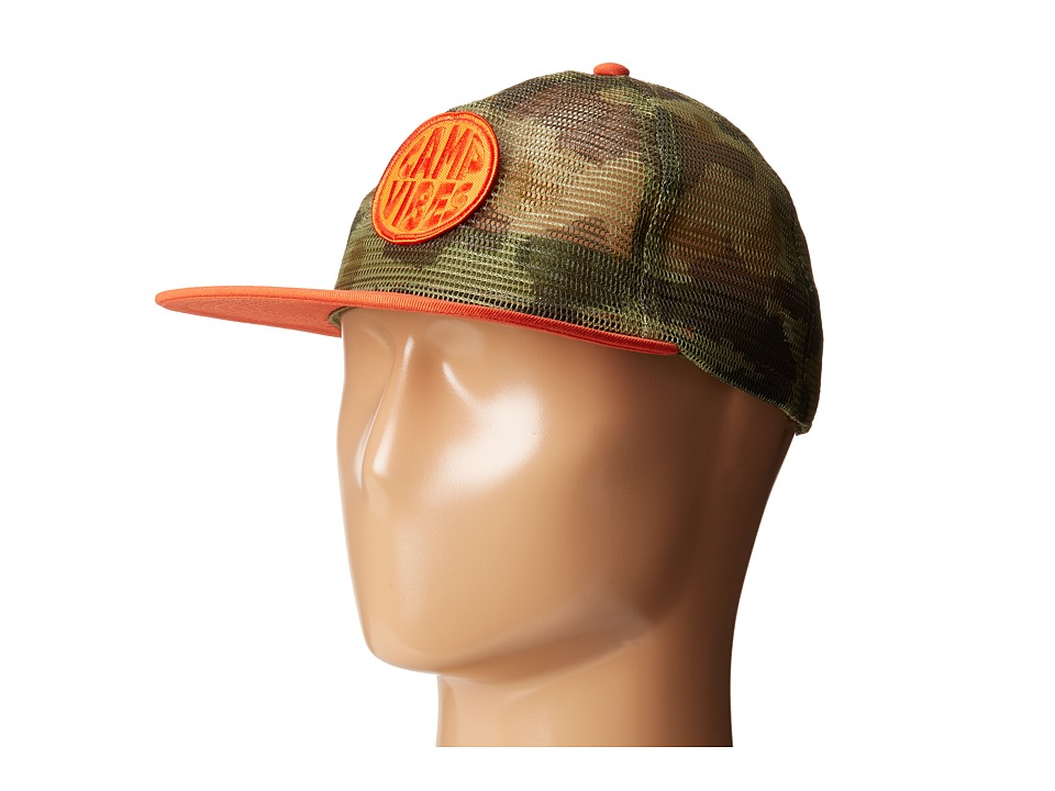 Poler - Pop Top Full Mesh Trucker Hat (Furry Green Camo) Caps