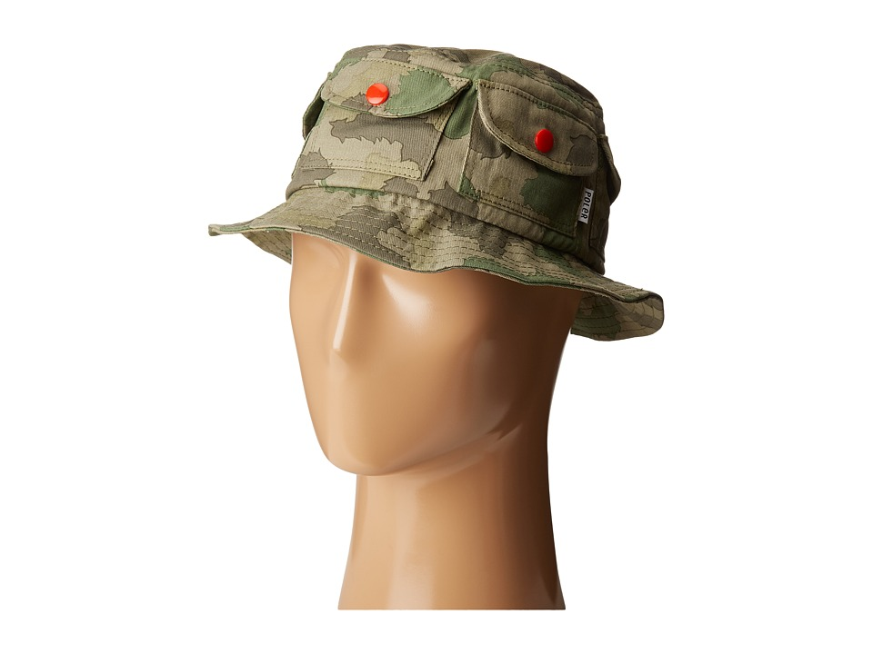 Poler - Pocket Bucket Hat (Furry Green Camo) Bucket Caps