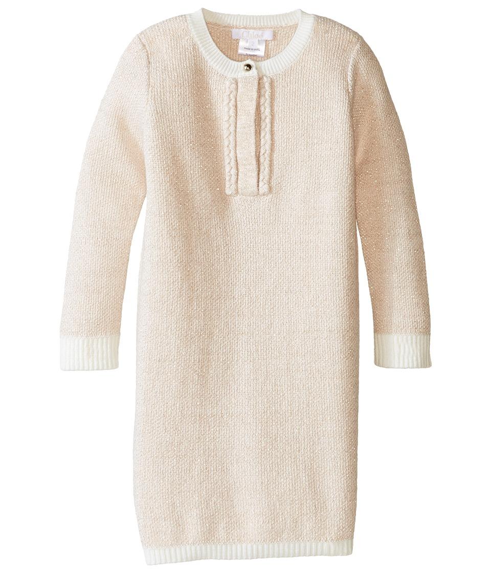 Chloe Kids - Lurex and Knitted Dress w/ Braids Details (Toddler/Little Kids) (Rose Pale) Girl's Dress
