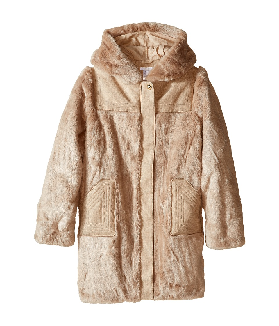 Chloe Kids - Hooded Faux Fur Coat (Big Kids) (Beige Rose) Girl's Coat