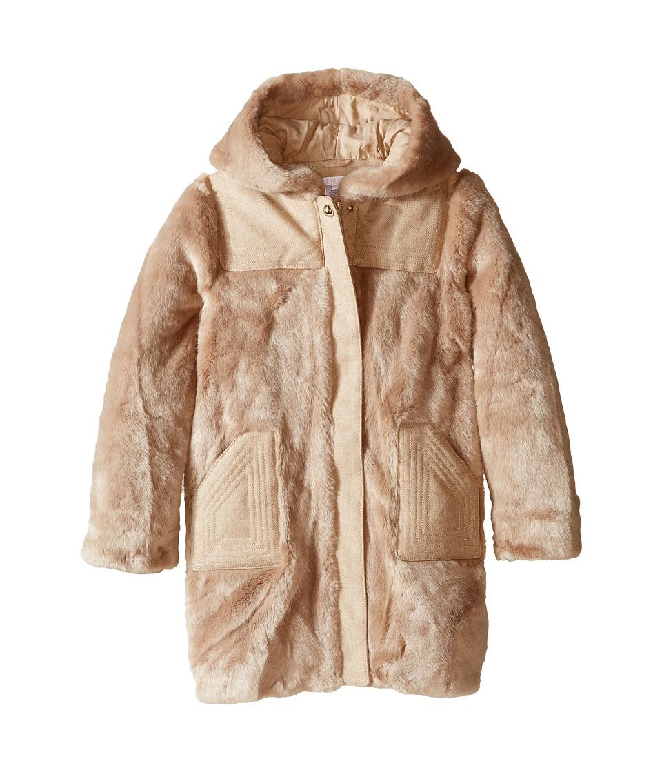Chloe Kids - Hooded Faux Fur Coat (Little Kids/Big Kids) (Beige Rose) Girl's Coat