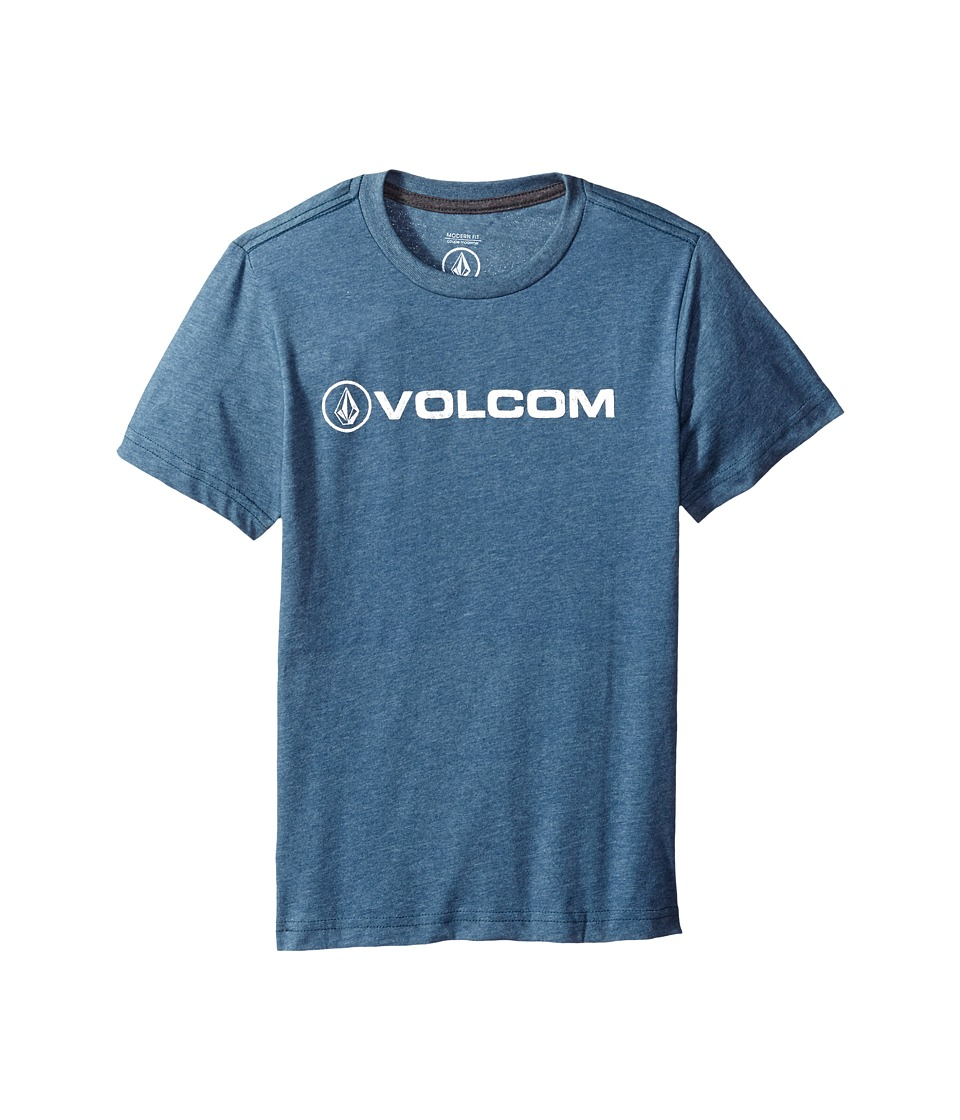 Volcom Kids - Euro Pencil Short Sleeve Tee (Big Kids) (Air Force Blue) Boy's T Shirt