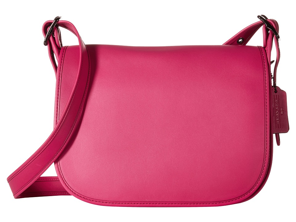 COACH - Glovetanned Leather Saddle Bag (DK/Cerise) Bags