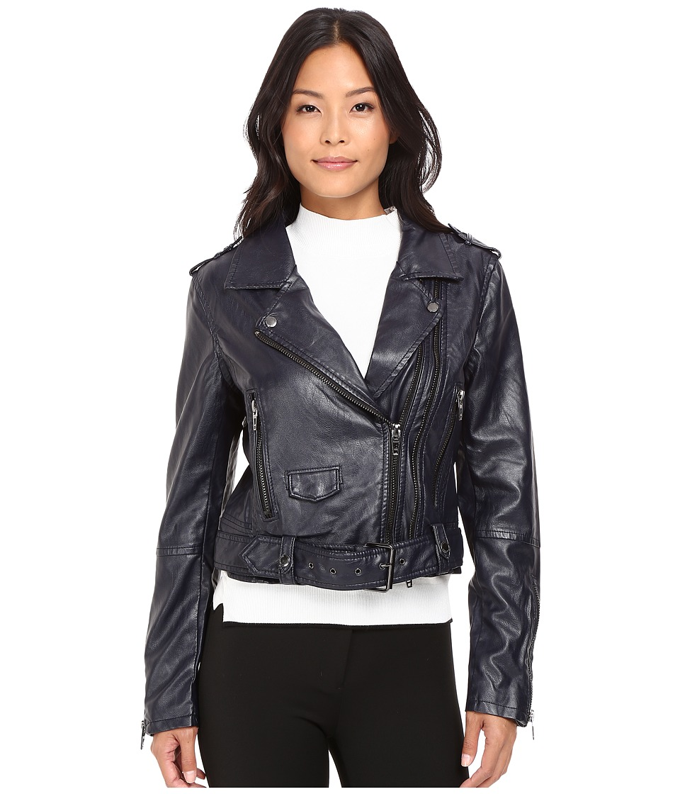 Blank NYC - Moto Vegan Leather Jacket in Uninvited (Navy) Women's Coat