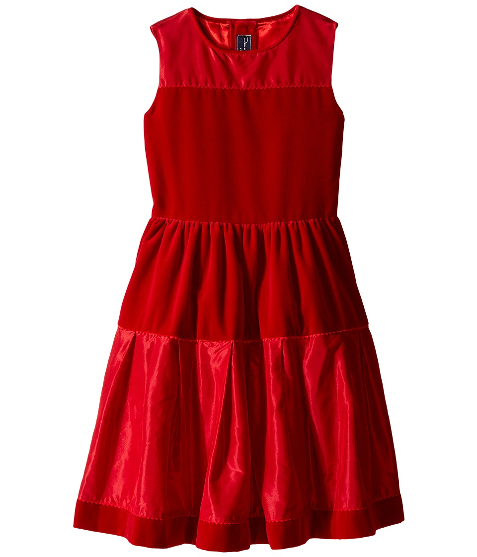 Oscar de la Renta Childrenswear - Velvet And Taffeta Party Dress (Toddler/Little Kids/Big Kids) (Ruby) Girl's Dress