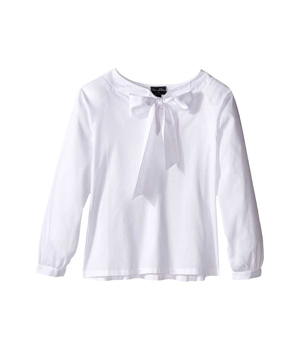 Oscar de la Renta Childrenswear - Cotton Bow Blouse (Toddler/Little Kids/Big Kids) (White) Girl's Blouse