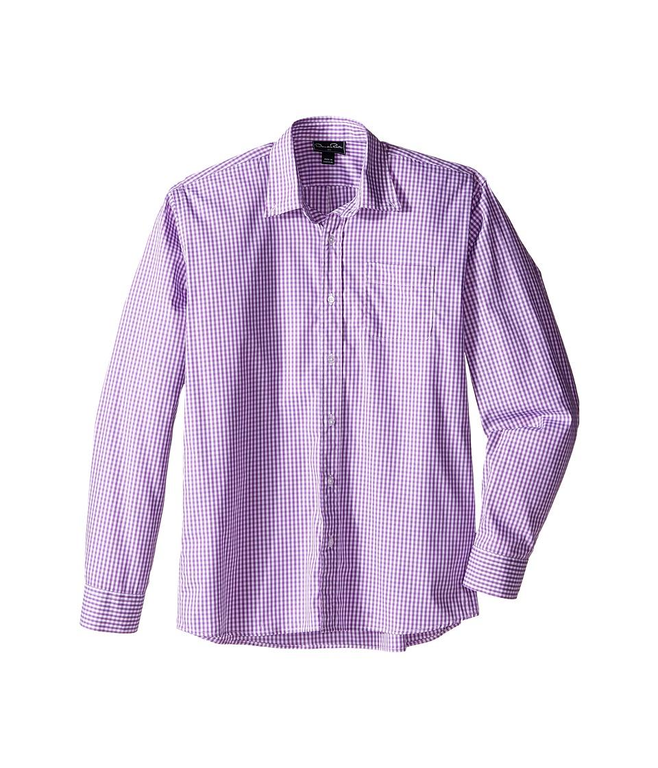 Oscar de la Renta Childrenswear - Check Cotton Long Sleeve Woven (Toddler/Little Kids/Big Kids) (Ultraviolet) Boy's Long Sleeve Pullover
