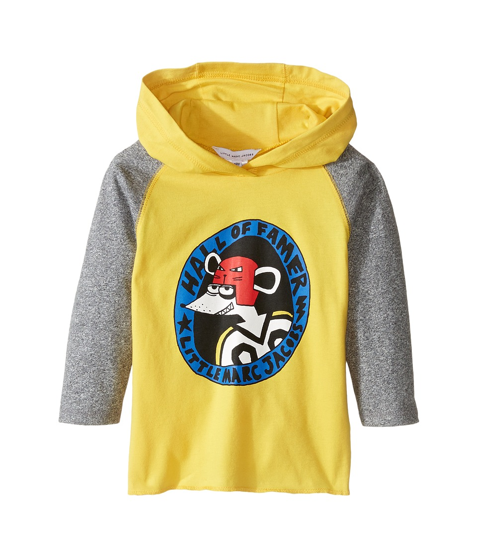Little Marc Jacobs - Long Sleeve Hooded Tee Shirt with Hockey Mouse Player (Infant) (Gris/Jaune) Boy's T Shirt