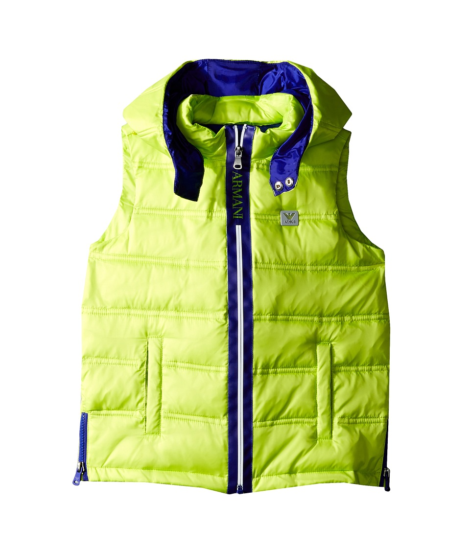Armani Junior - Puffer Vest with Blue Trim (Toddler/Little Kids/Big Kids) (Lime) Boy's Vest