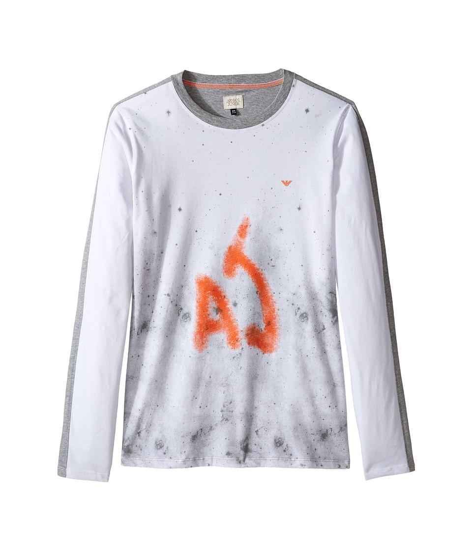 Armani Junior - Splatter Logo Tee (Toddler/Little Kids/Big Kids) (Bianco Ottico) Boy's T Shirt