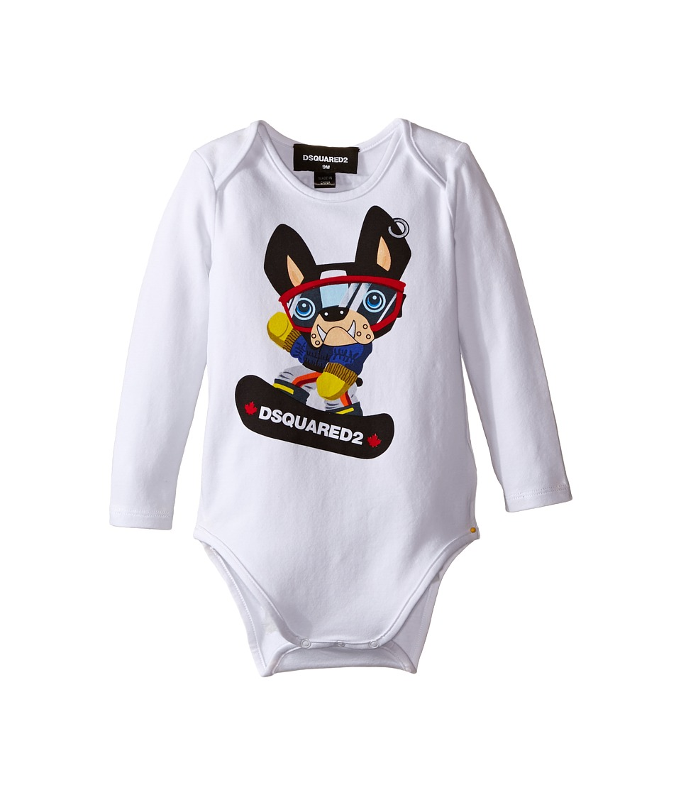 Dsquared2 Kids - Long Sleeve Body w/ Skateboard Dog (Infant) (White) Boy's Jumpsuit & Rompers One Piece
