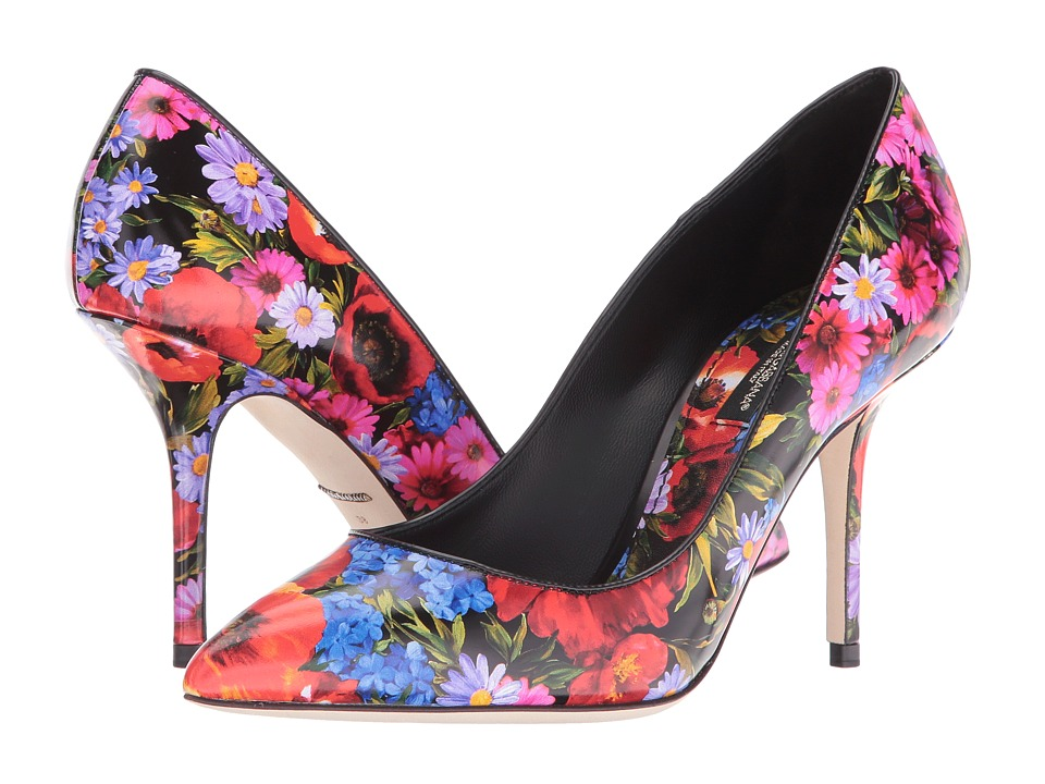 Dolce & Gabbana Printed Leather Black-Floral Womens Shoes