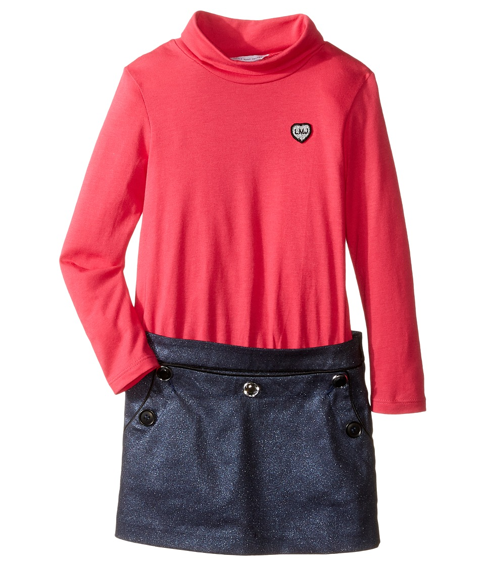 Little Marc Jacobs - Bi Material Turtleneck Dress with Cabochons Details (Toddler/Little Kids) (Violet/Blue) Girl's Dress