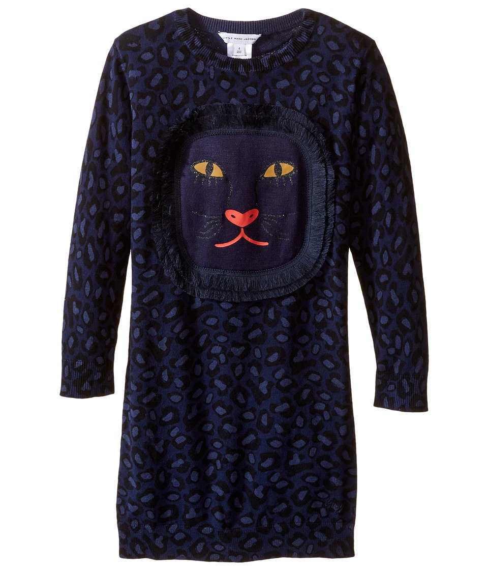 Little Marc Jacobs - Knitted Leopard Frange Style All Over Printed Dress (Toddler/Little Kids) (Eclipse) Girl's Dress