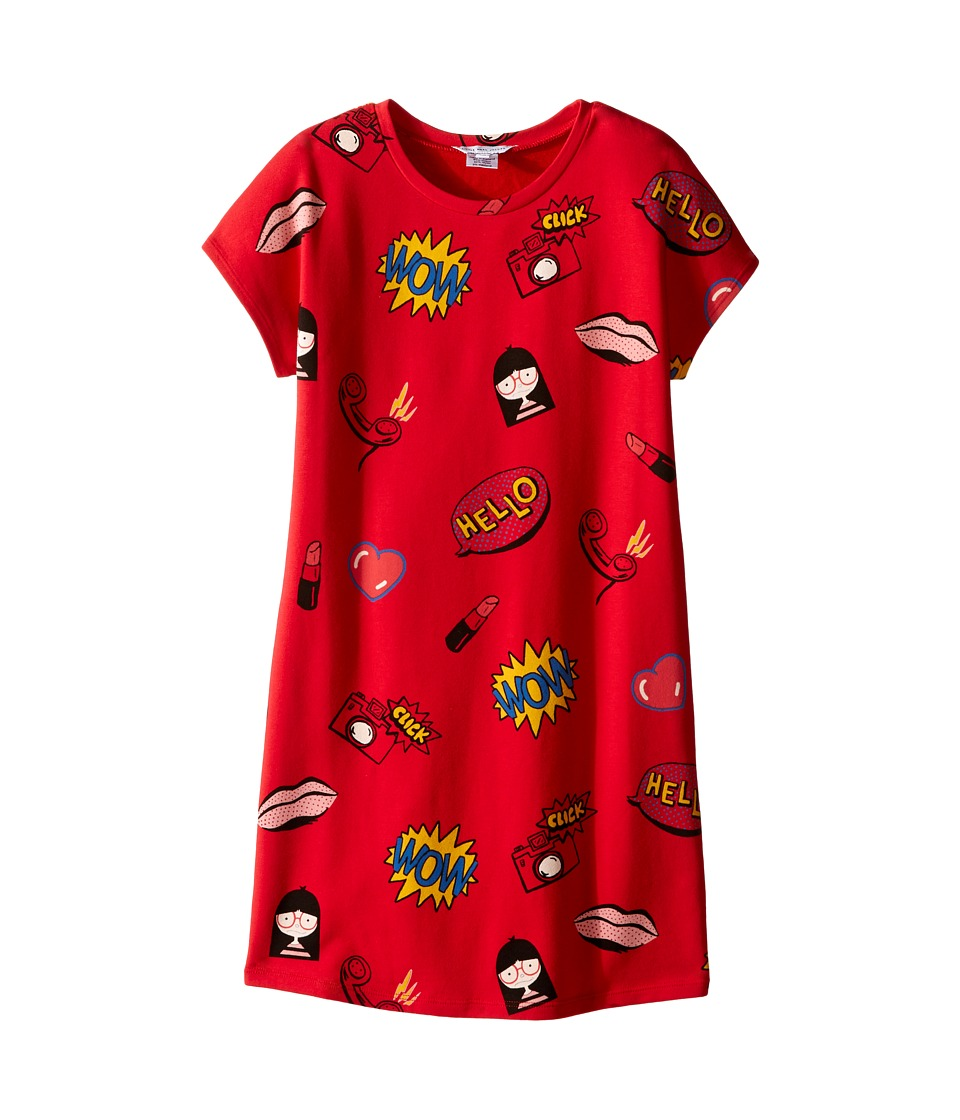 Little Marc Jacobs - Short Sleeve Fancy Illustration Dress (Little Kids/Big Kids) (Deep Red) Girl's Dress