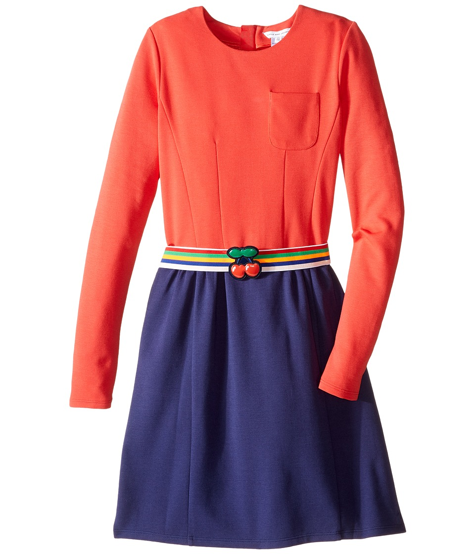 Little Marc Jacobs - Milano Block Colors Dress with Cherry Detail Belt (Big Kids) (Pink/Blue) Girl's Dress