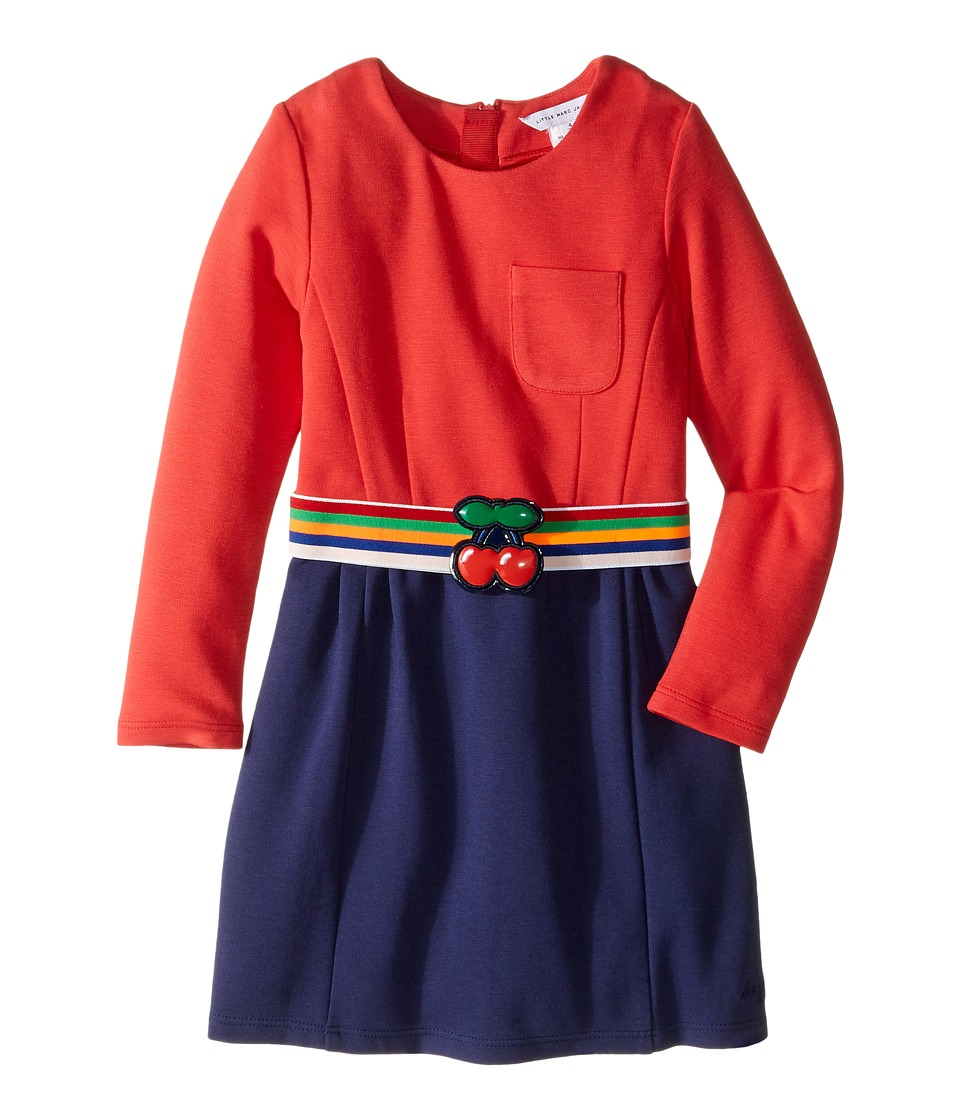 Little Marc Jacobs - Milano Block Colors Dress with Cherry Detail Belt (Toddler/Little Kids) (Pink/Blue) Girl's Dress