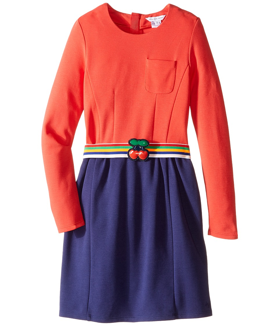 Little Marc Jacobs - Milano Block Colors Dress with Cherry Detail Belt (Little Kids/Big Kids) (Pink/Blue) Girl's Dress