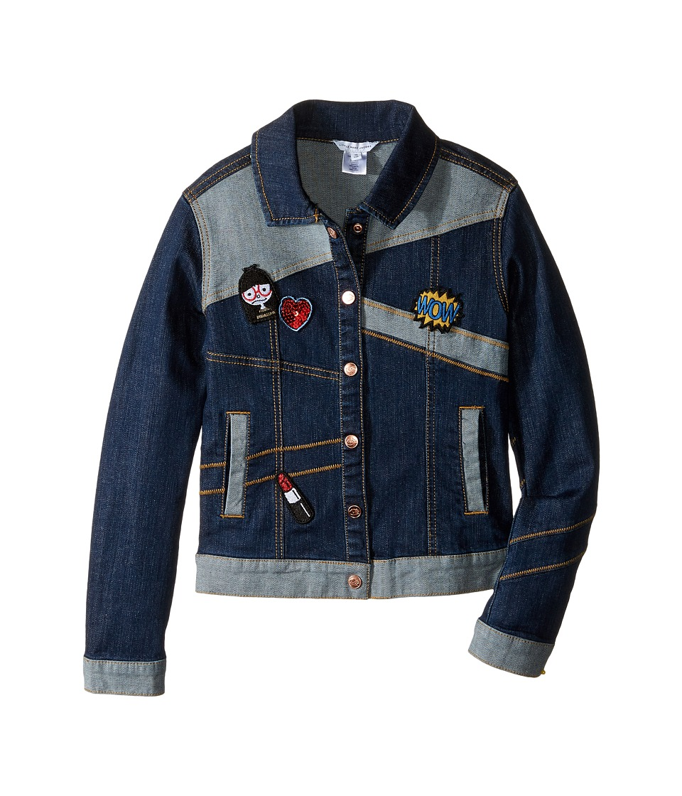 Little Marc Jacobs - Denim Jacket with Fancy Patches (Little Kids/Big Kids) (Denim Blue) Girl's Coat