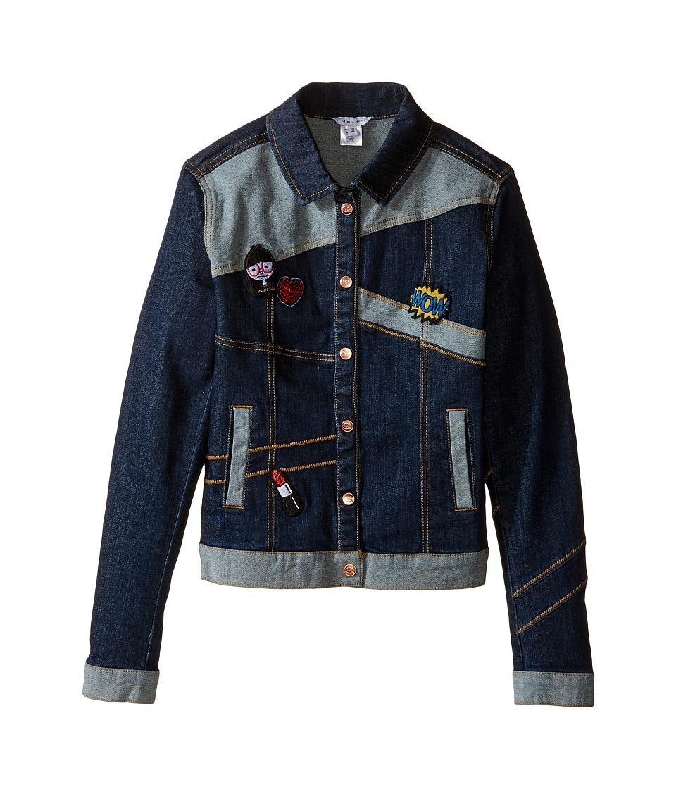 Little Marc Jacobs - Denim Jacket with Fancy Patches (Big Kids) (Denim Blue) Girl's Coat