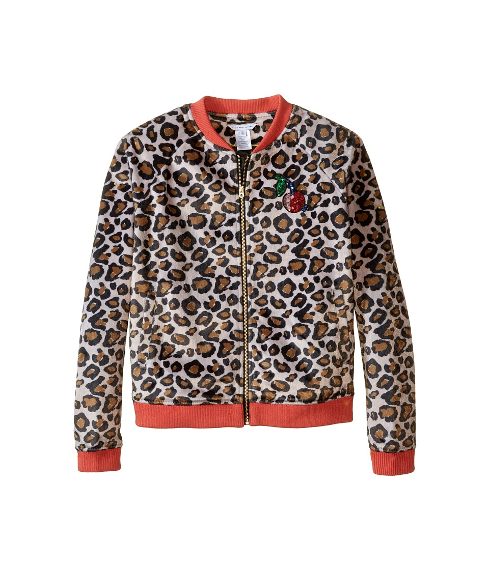 Little Marc Jacobs - Resort - Faux Fur Leopard Jacket with Cherry Patch (Big Kids) (Ocre) Girl's Coat
