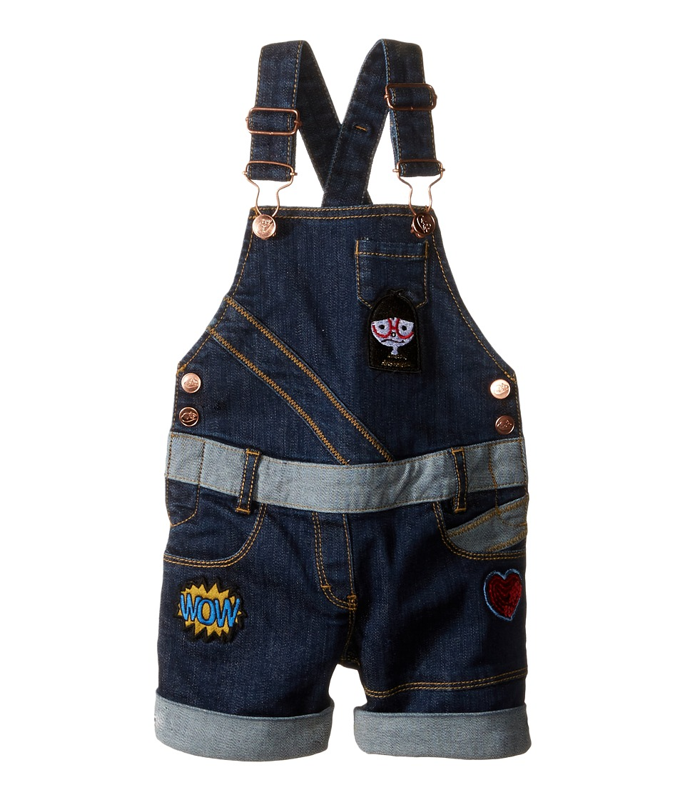 Little Marc Jacobs - Denim Dungaree with Fancy Patches (Toddler/Little Kids) (Denim Blue) Girl's Overalls One Piece