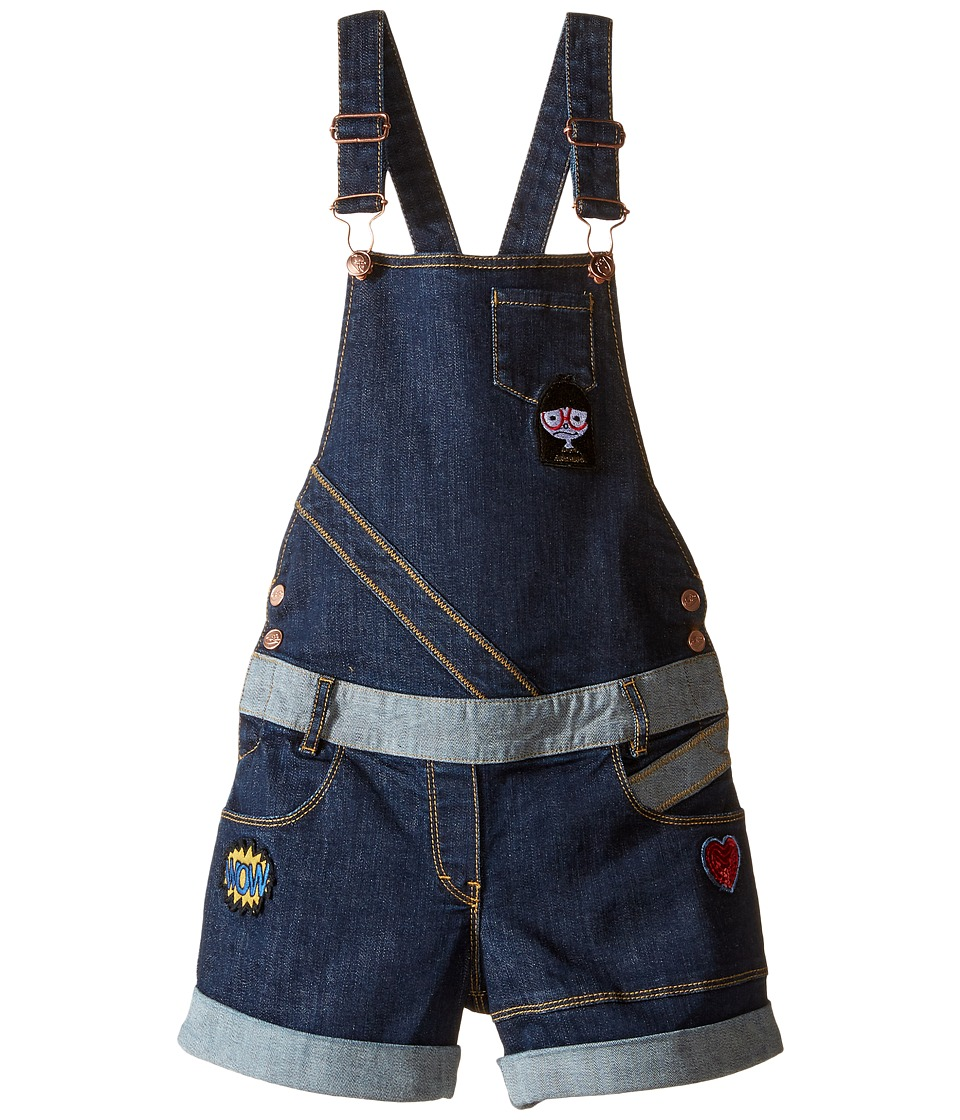 Little Marc Jacobs - Denim Dungaree with Fancy Patches (Little Kids/Big Kids) (Denim Blue) Girl's Overalls One Piece