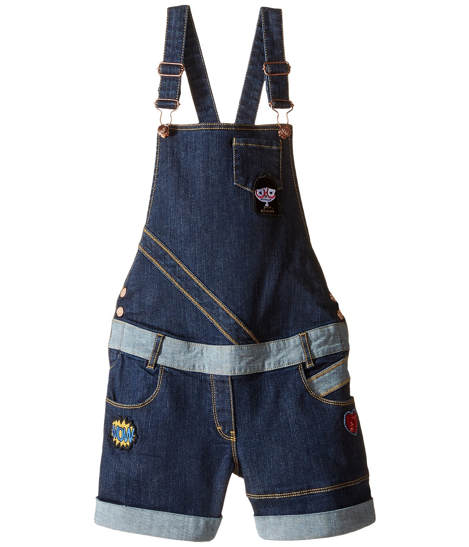 Little Marc Jacobs - Denim Dungaree with Fancy Patches (Big Kids) (Denim Blue) Girl's Overalls One Piece