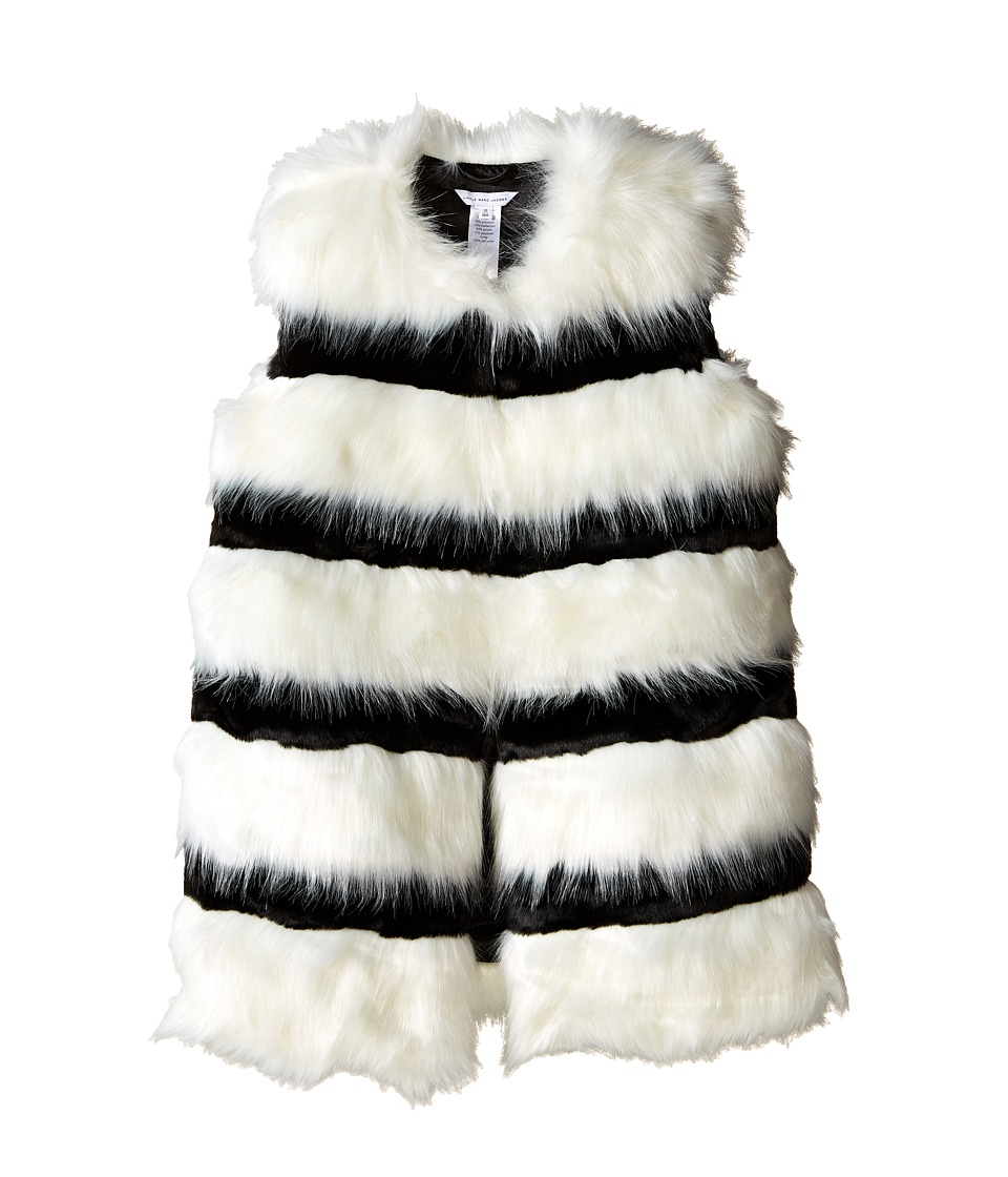Little Marc Jacobs - Faux Fur Sleeveless and Striped Gilet (Big Kids) (Ecru/Noir) Girl's Sleeveless