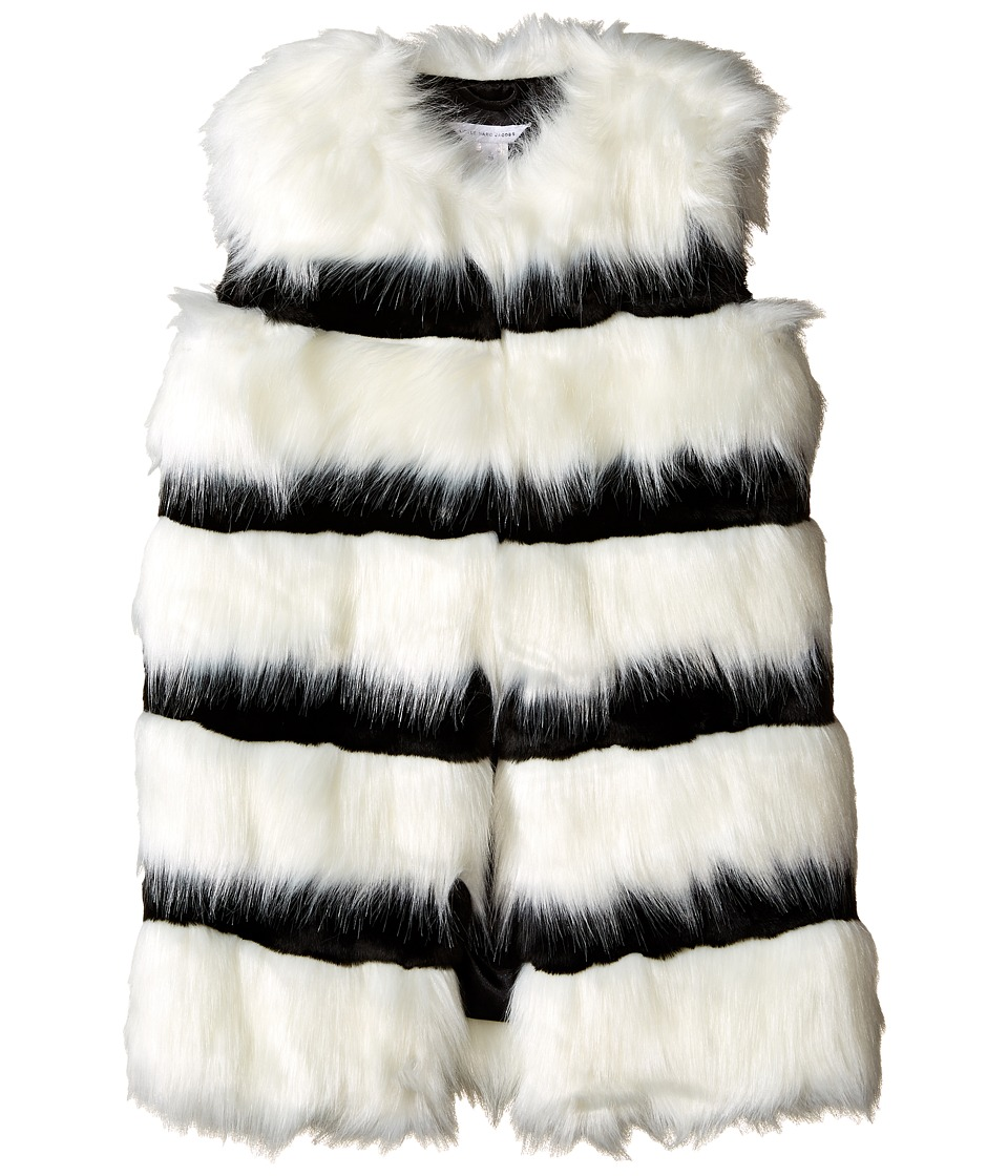 Little Marc Jacobs - Faux Fur Sleeveless and Striped Gilet (Little Kids/Big Kids) (Ecru/Noir) Girl's Sleeveless