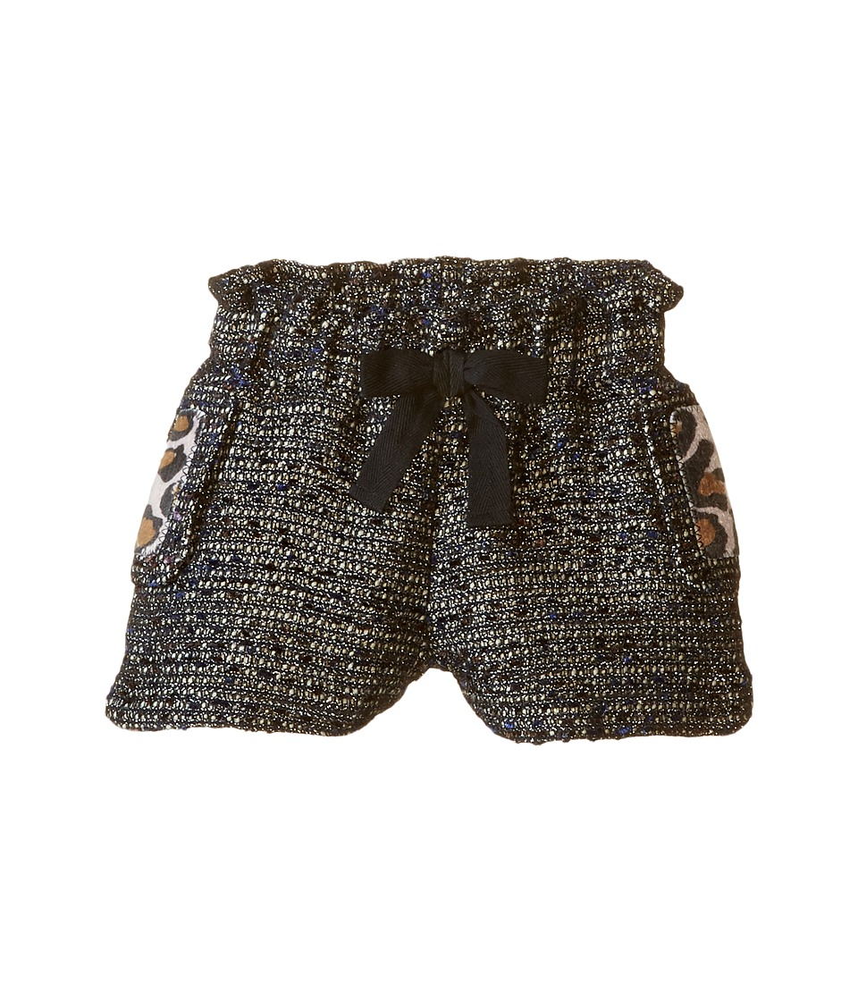 Little Marc Jacobs - Resort - Lurex Shorts Panter Pockets Details (Toddler/Little Kids) (Black) Girl's Shorts