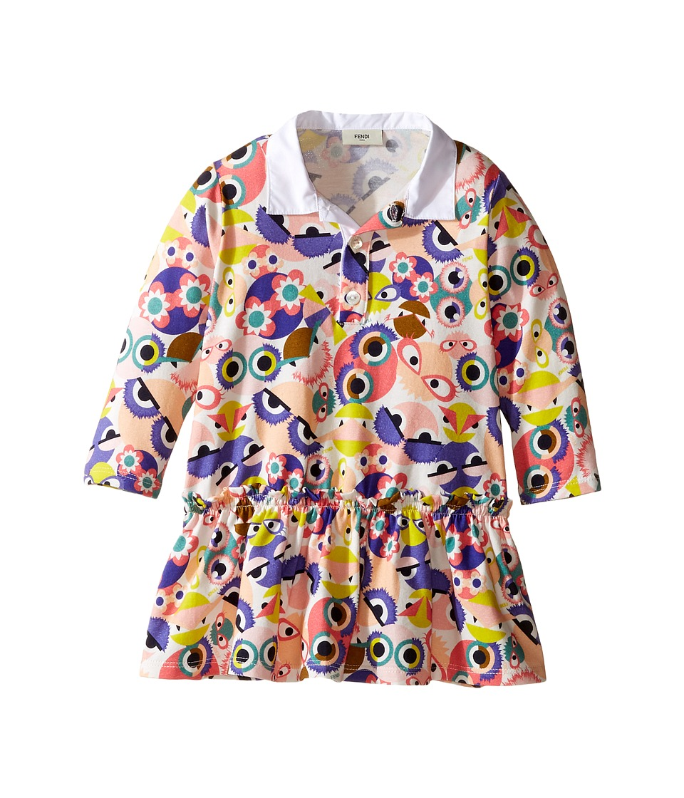 Fendi Kids - Long Sleeve Collar Dress w/ All Over Monster Print (Infant) (Multi) Girl's Dress