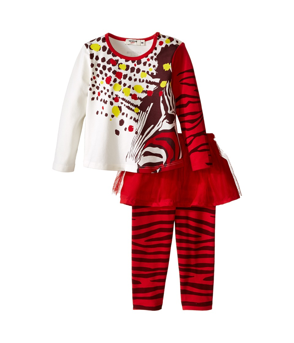 Junior Gaultier - Two-Piece Set with Printed Tee and Leggings with Tulle (Infant) (Red) Girl's Active Sets