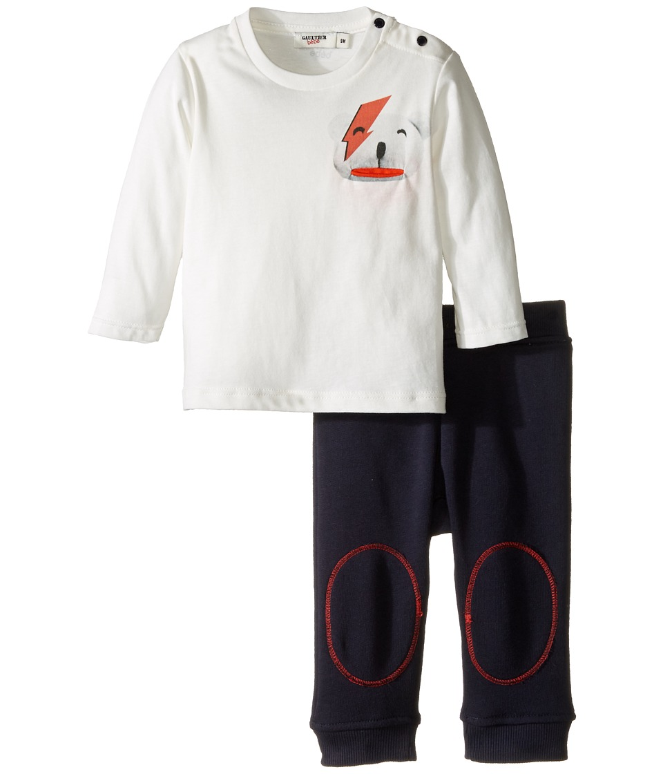 Junior Gaultier - Set with White Tee Shirt with Bear and Blue Sweatpants (Infant) (Navy) Boy's Active Sets
