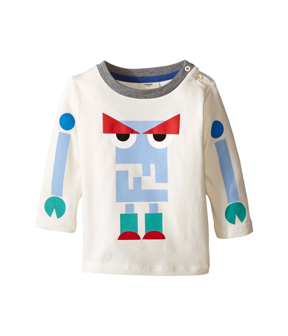 Fendi Kids - Long Sleeve T-Shirt w/ Monster Logo Graphic (Infant) (White Multi) Boy's T Shirt
