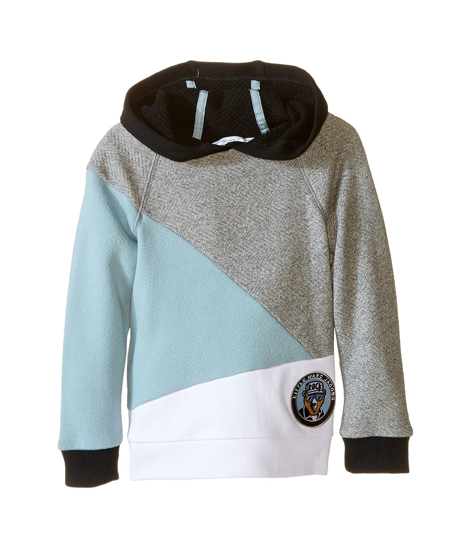 Little Marc Jacobs - Long Sleeve Hooded Colors Block Sweatshirt (Toddler/Little Kids) (Blue/Gris) Boy's Sweatshirt
