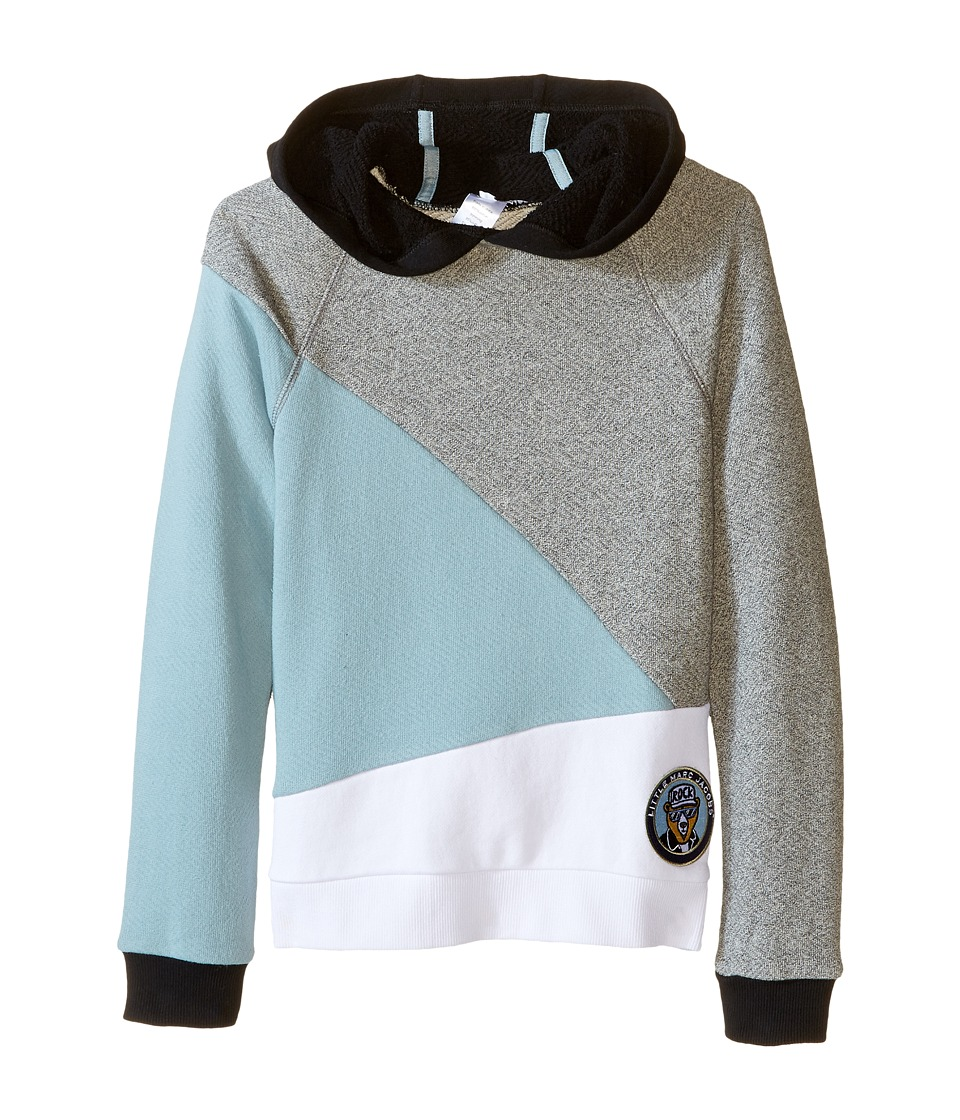 Little Marc Jacobs - Long Sleeve Hooded Colors Block Sweatshirt (Little Kids/Big Kids) (Blue/Gris) Boy's Sweatshirt