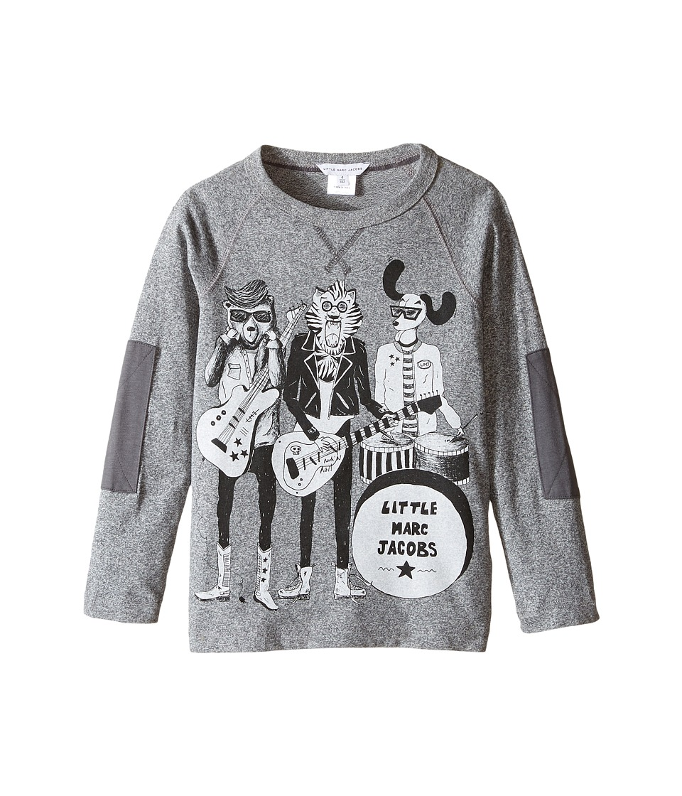 Little Marc Jacobs - Long Sleeve Rock House Illustration Tee Shirt (Toddler/Little Kids) (Gris Chine) Boy's T Shirt