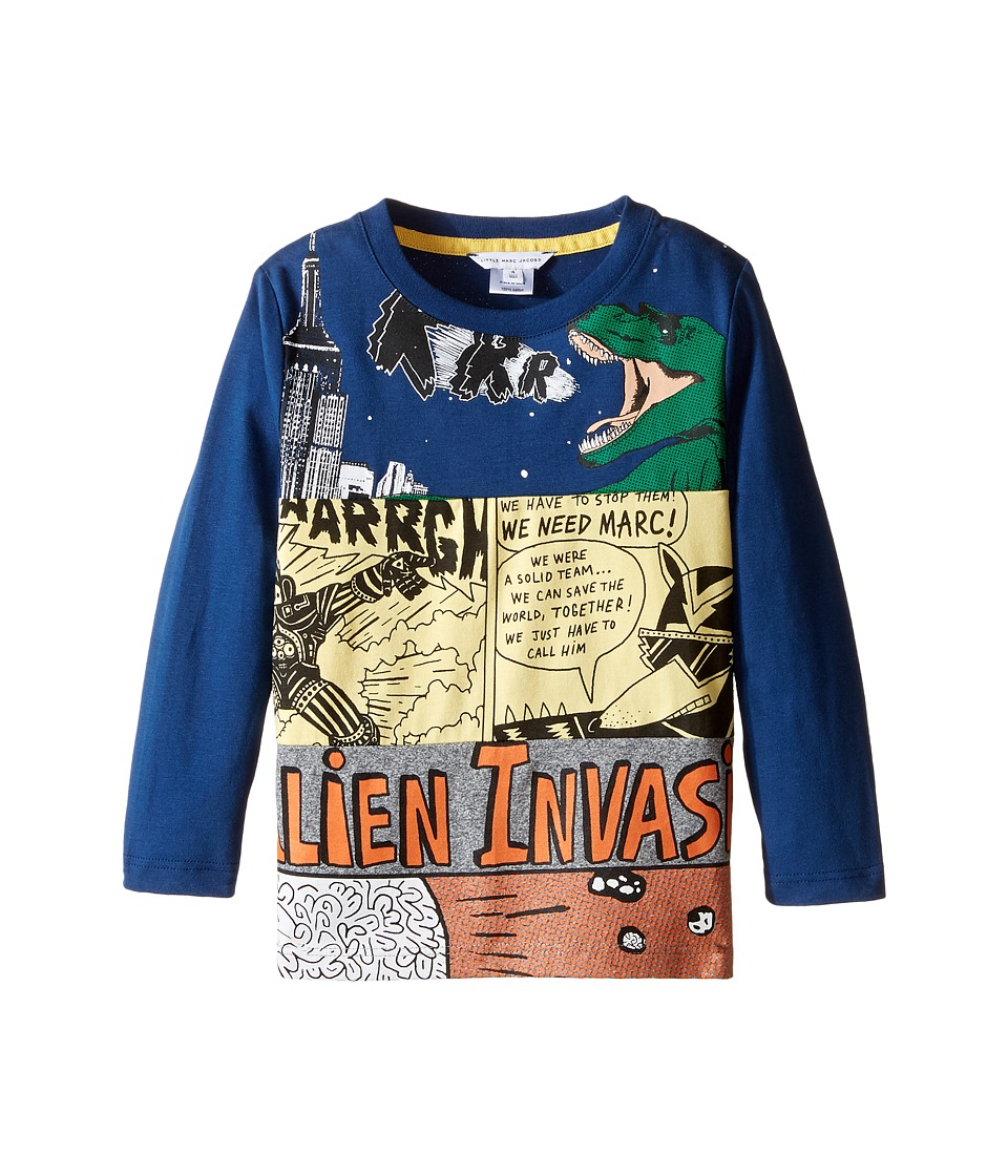 Little Marc Jacobs - Long Sleeve Alien Invasion Illustration Tee Shirt (Toddler/Little Kids) (Blue/Gris) Boy's T Shirt