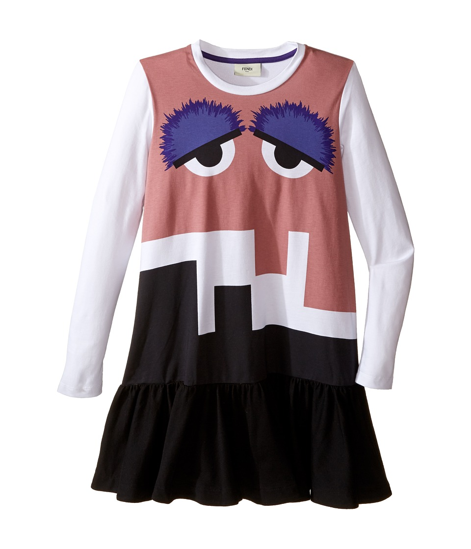 Fendi Kids - Long Sleeve Dress w/ Monster Logo Graphic (Little Kids) (White Multi) Girl's Dress