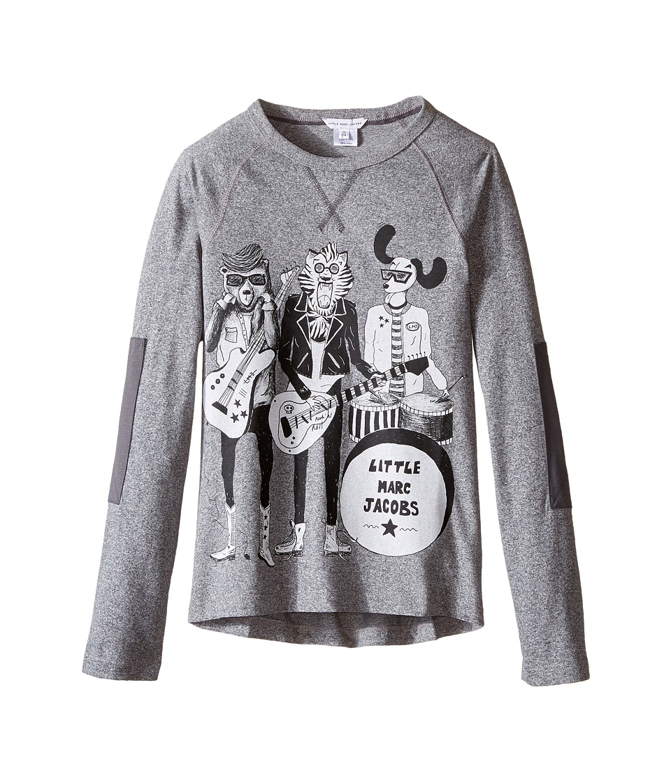 Little Marc Jacobs - Long Sleeve Rock House Illustration Tee Shirt (Little Kids/Big Kids) (Gris Chine) Boy's T Shirt