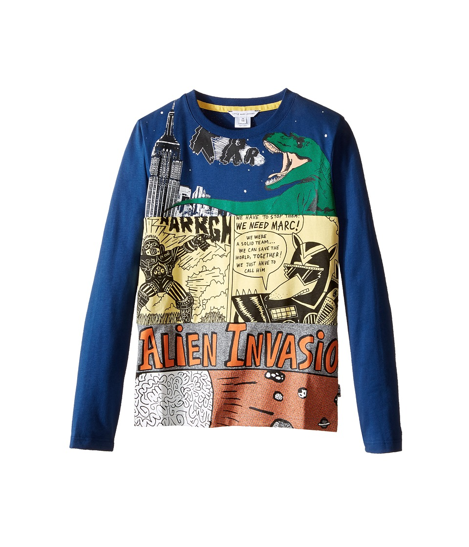 Little Marc Jacobs - Long Sleeve Alien Invasion Illustration Tee Shirt (Little Kids/Big Kids) (Blue/Gris) Boy's T Shirt