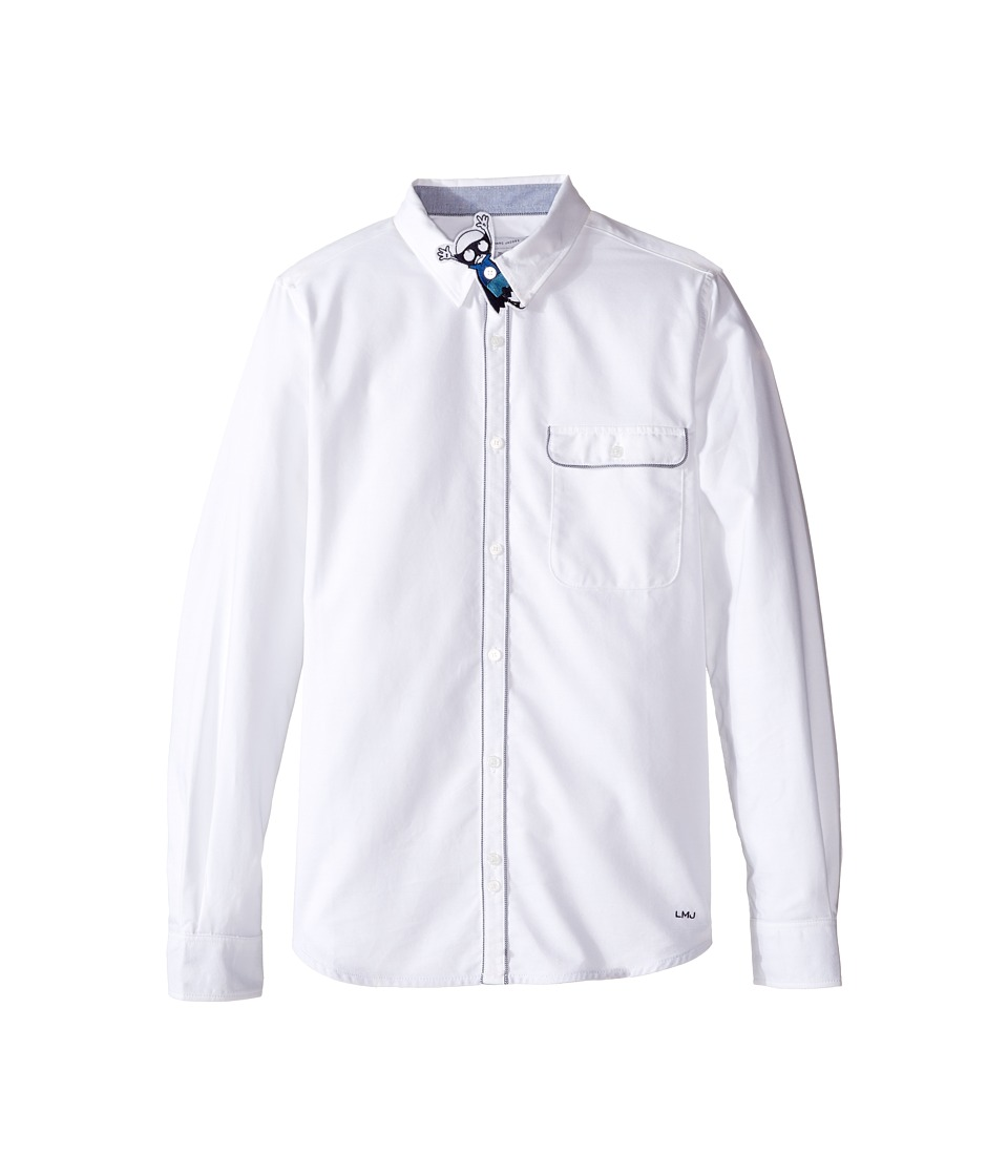 Little Marc Jacobs - Resort - Long Sleeve Oxford Shirt with Removable Superhero Bow (Big Kids) (Blanc) Boy's Long Sleeve Button Up