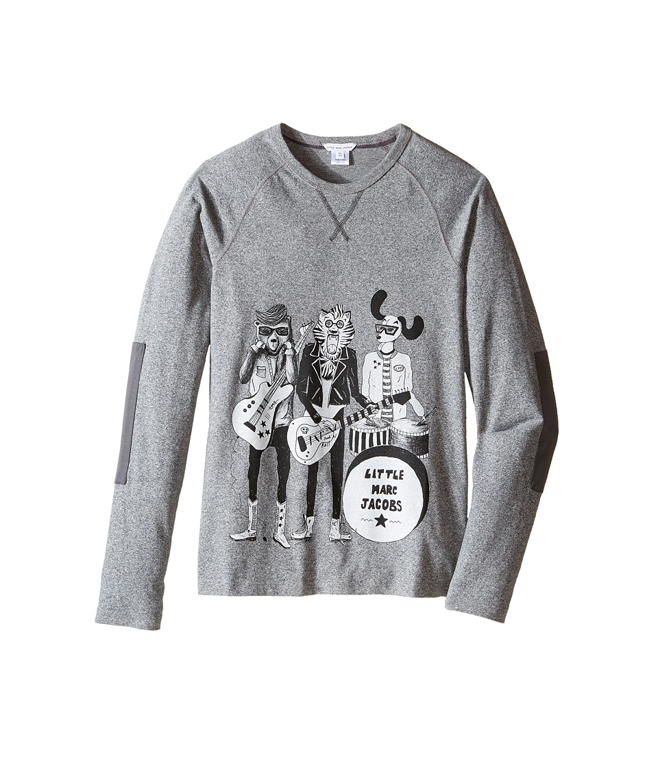 Little Marc Jacobs - Long Sleeve Rock House Illustration Tee Shirt (Big Kids) (Gris Chine) Boy's T Shirt