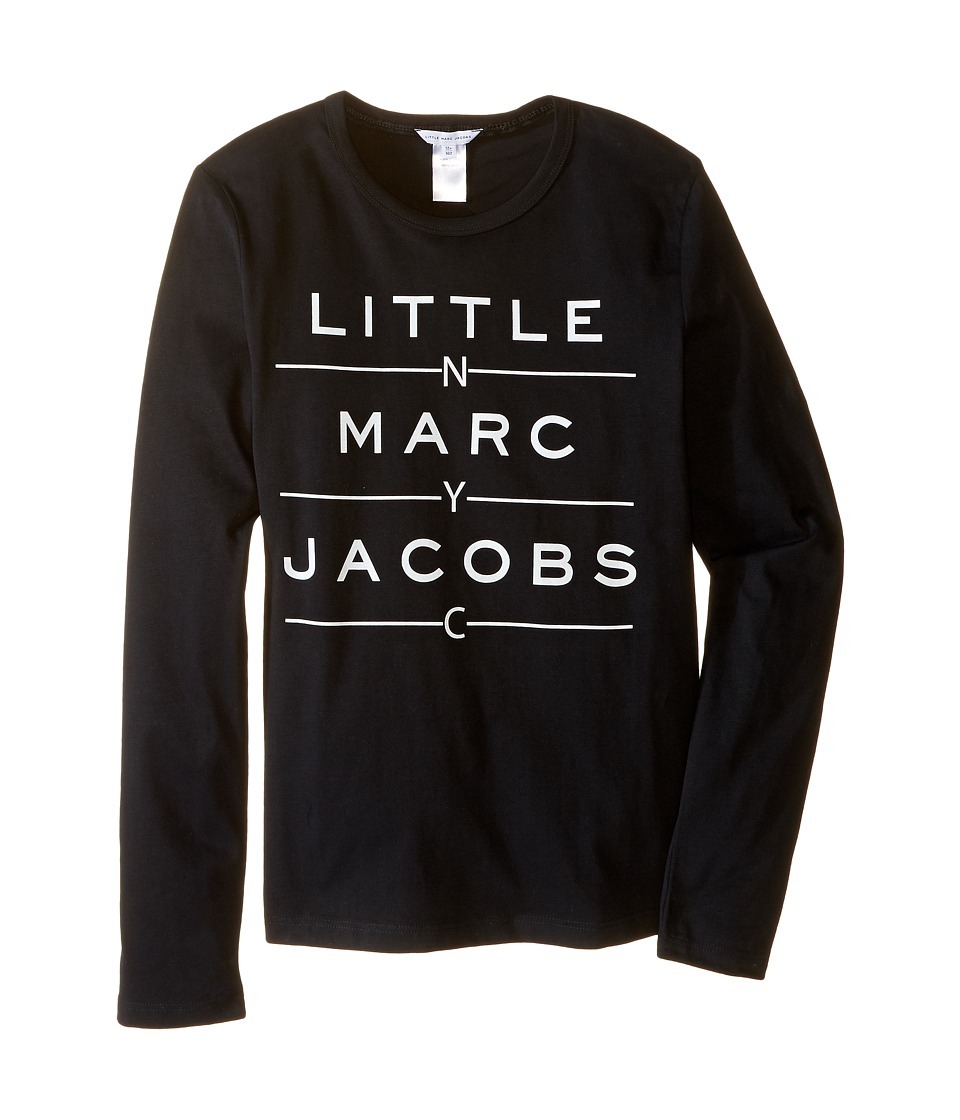 Little Marc Jacobs - Resort - Long Sleeve Essential Tee Shirt (Big Kids) (Black) Boy's T Shirt