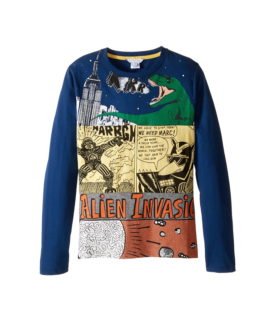 Little Marc Jacobs - Long Sleeve Alien Invasion Illustration Tee Shirt (Big Kids) (Blue/Gris) Boy's T Shirt