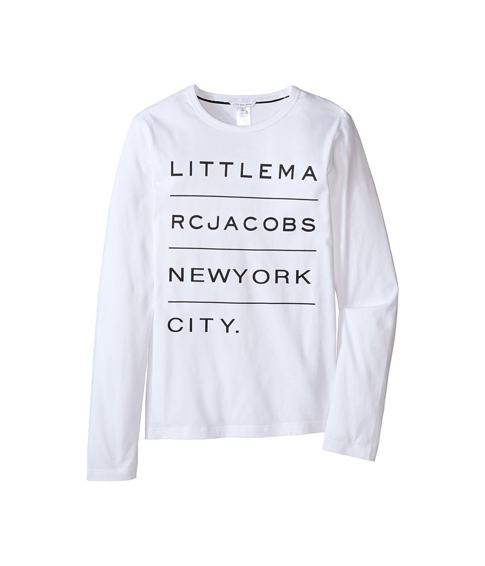 Little Marc Jacobs - Resort - Long Sleeve Essential Tee Shirt (Big Kids) (Blanc) Boy's T Shirt